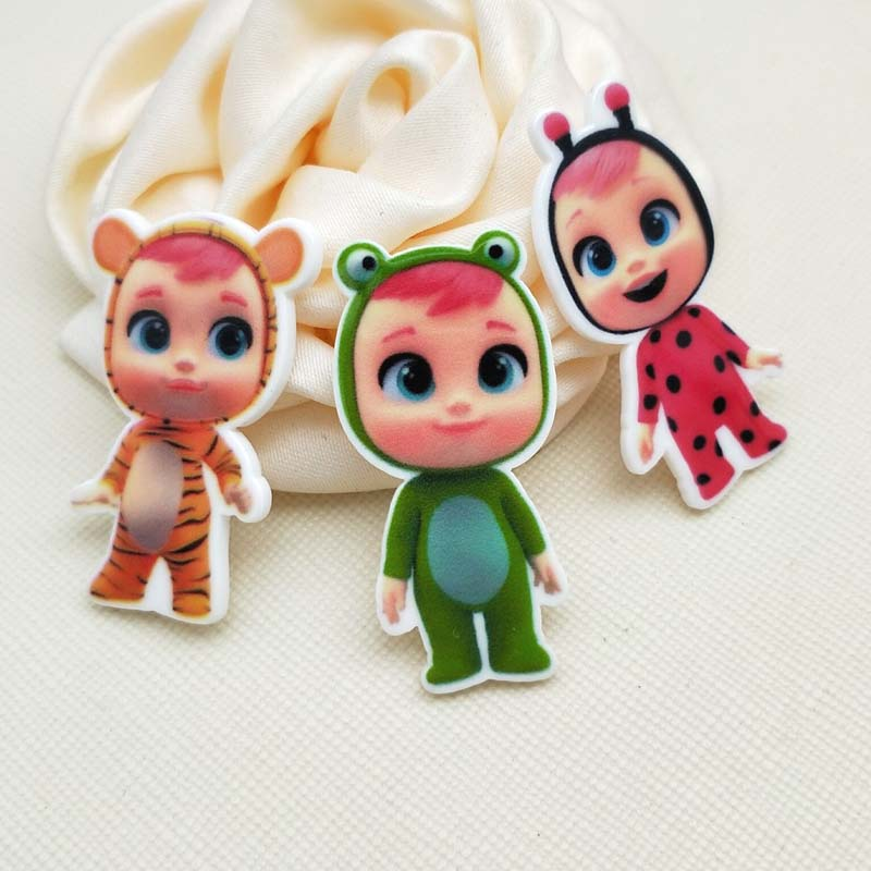 30pcs/50pcs Mixed Lovely Flat Back Planar Resin Cartoon Doll Baby Acrylic Resin Cabochons For DIY Bow Decoration 1.2inch R230
