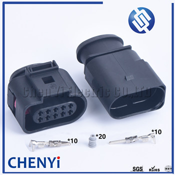 1 set 10 Pin 1.5mm car waterproof connector auto electrical plug 1J0973815 1J0 973 815 1J0973715 1J0 973 715 for vw audi image