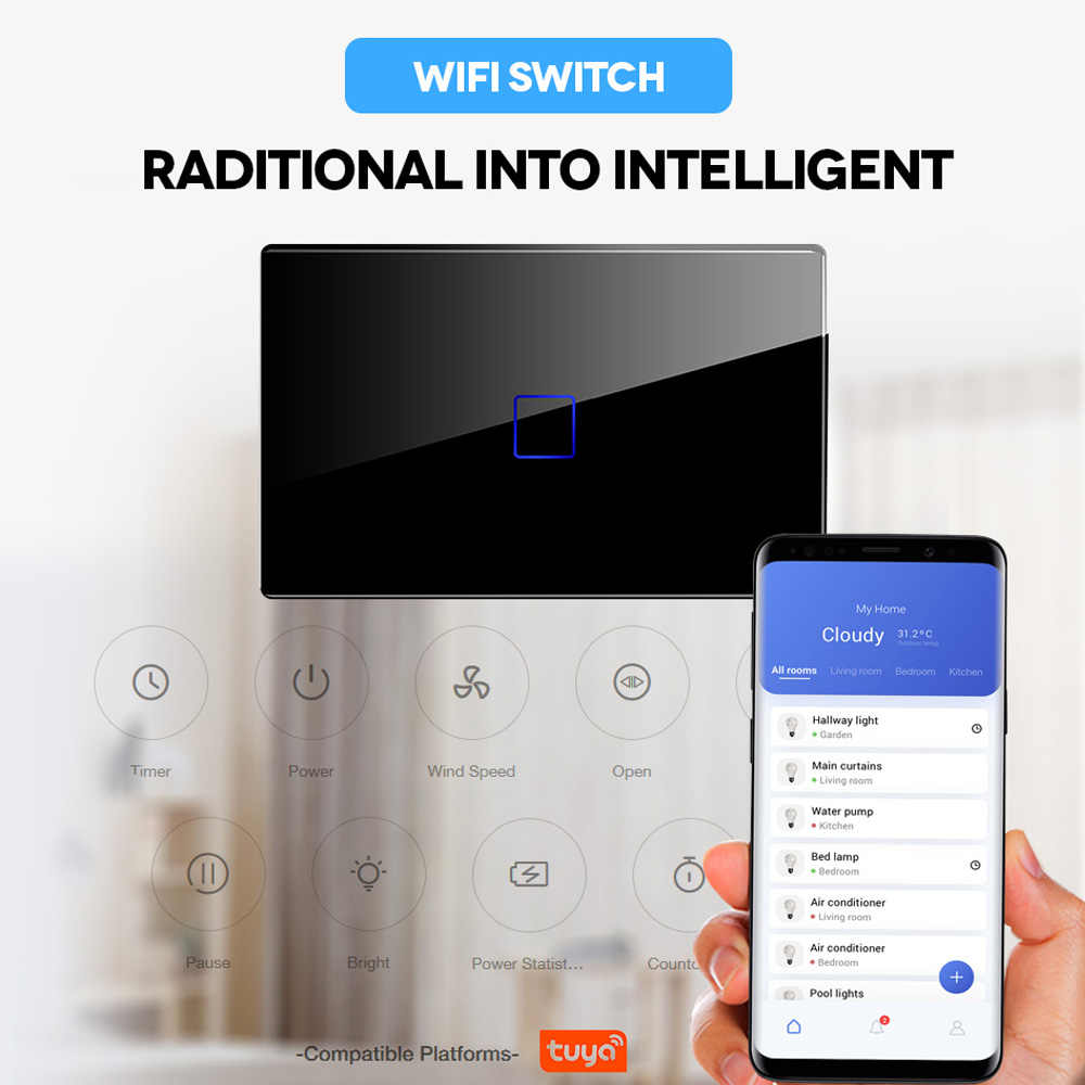 Kami APP Remote Control Tipe Lampu Dinding Controller Smart Home Automation Touch Switch Tahan Air Tahan Api 1G 2G 3G