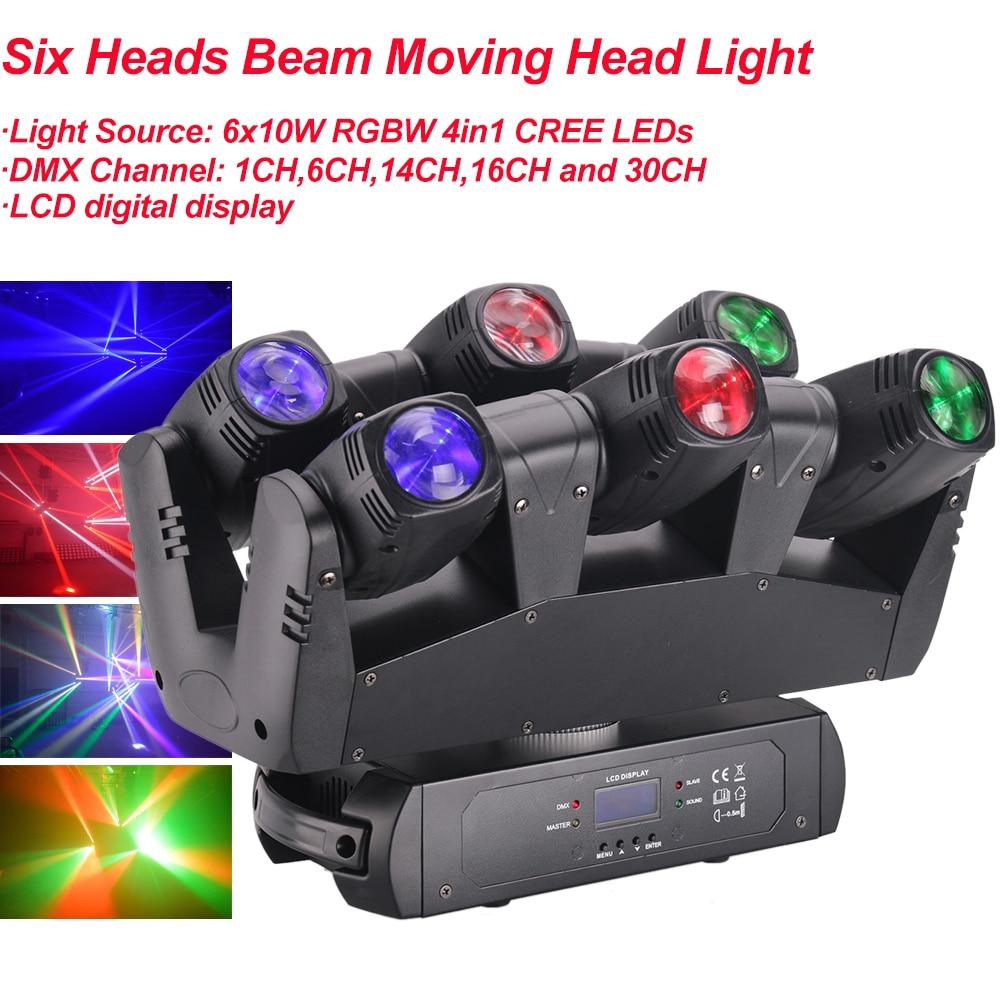 NEW 110W Six Heads Beam Moving Head Light DMX512 Sound RGBW 4IN1 LED Stage Effect Light DJ Disco Nightclub Party DJ Equipment
