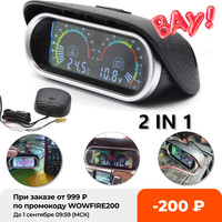Indicador de temperatura de agua 2 en 1 para coche, voltímetro, indicadores de voltaje con Sensor de temperatura, LCD, 12v/24v