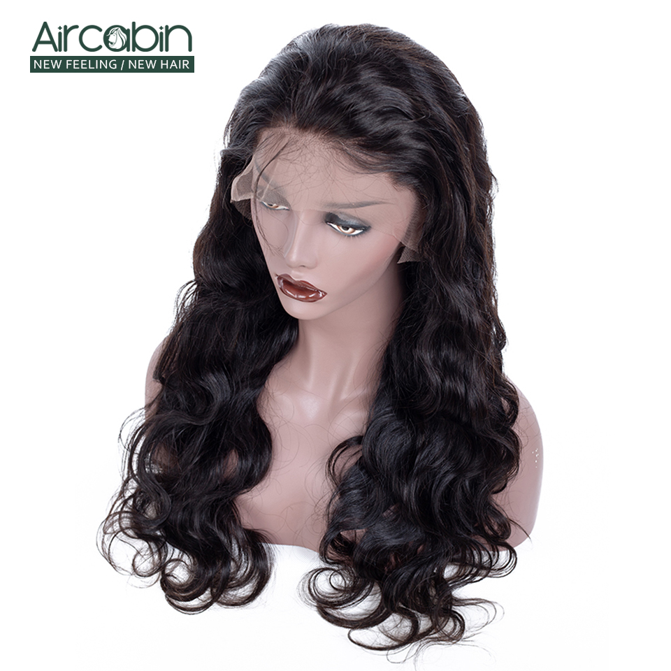 Aircabin Indian Full Lace Human Hair Wigs Body Wave Pre-Plucked 130% Density Remy Hair Wigs With Baby Hair Bleached Knots