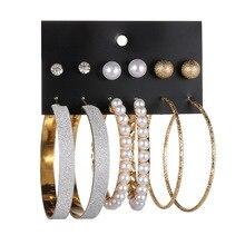 3 Pair Oversize Circle Hoop Pearl Circle Round Crystal Earrings For Women Bohemian Earrings Set Big  Drop Brincos Female Jewelry цена 2017