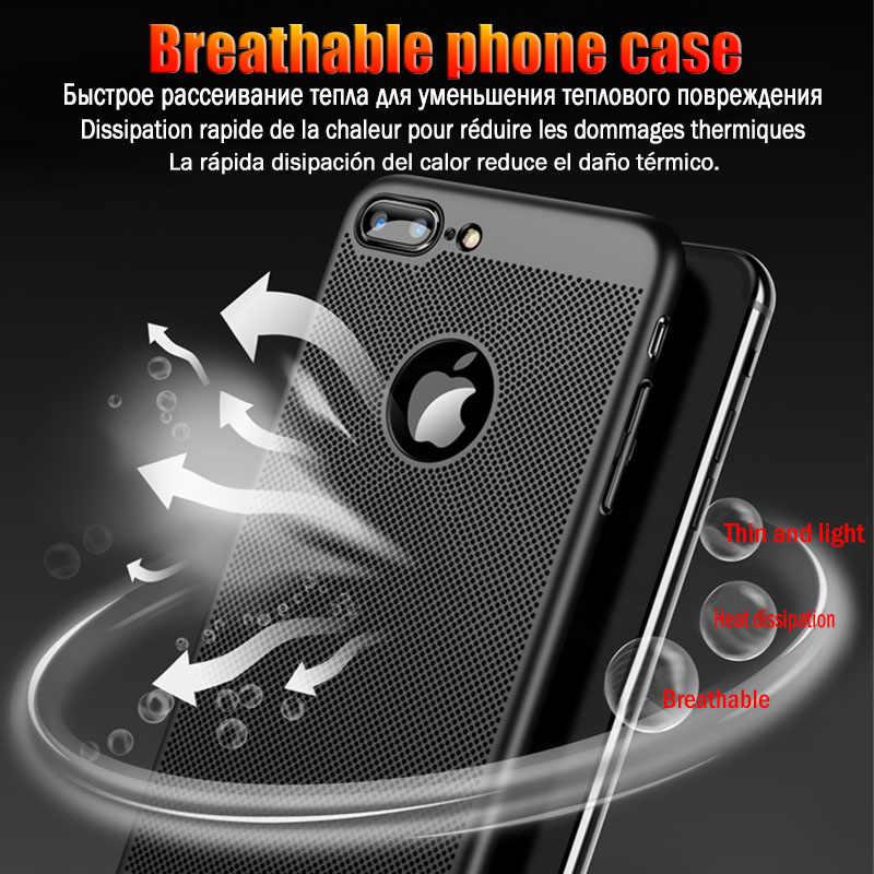 الفاخرة تنفس الصلب البلاستيك هاتف الكمبيوتر حقيبة لهاتف أي فون X XR XS ماكس للصدمات غطاء ل فون 5 5S SE 6 6S 7 8 زائد ضئيلة حالة