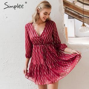 Image 2 - Simplee, vestido de mujer con cuello en v, volantes, estampado a rayas, cintura alta, linterna, vestido de verano, vacaciones, manga larga, vestido de fiesta de primavera