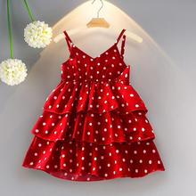 Girls' suspender dress summer new female baby polka dot dress children's foreign cake princess dress polka dot zip up side dress