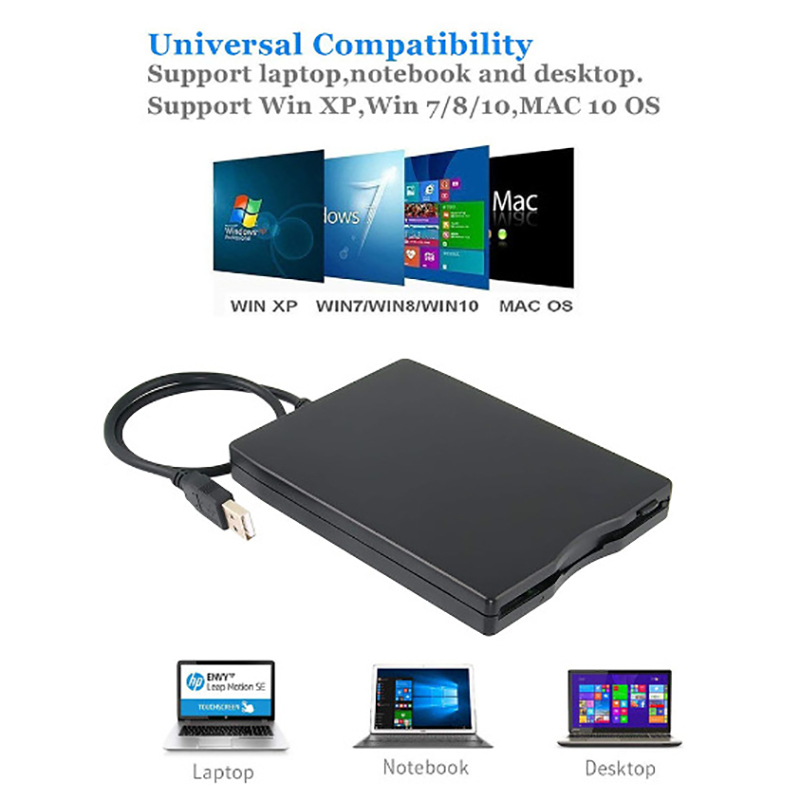 Hannord Portable 3.5inch Mobile USB Floppy Disk Drive 1.44M External Diskette FDD for Laptop Computer PC USB Drive Plug and Play 2