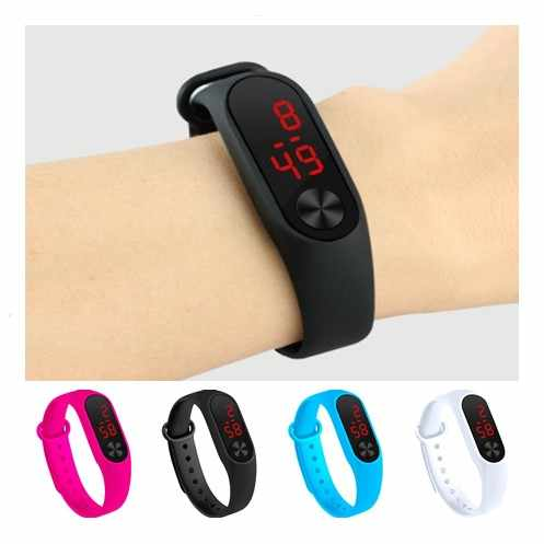 Empat Warna Digital Watch Led Sport Watch Kasual Silikon untuk Jam Tangan Anak Jam Tangan Gelang