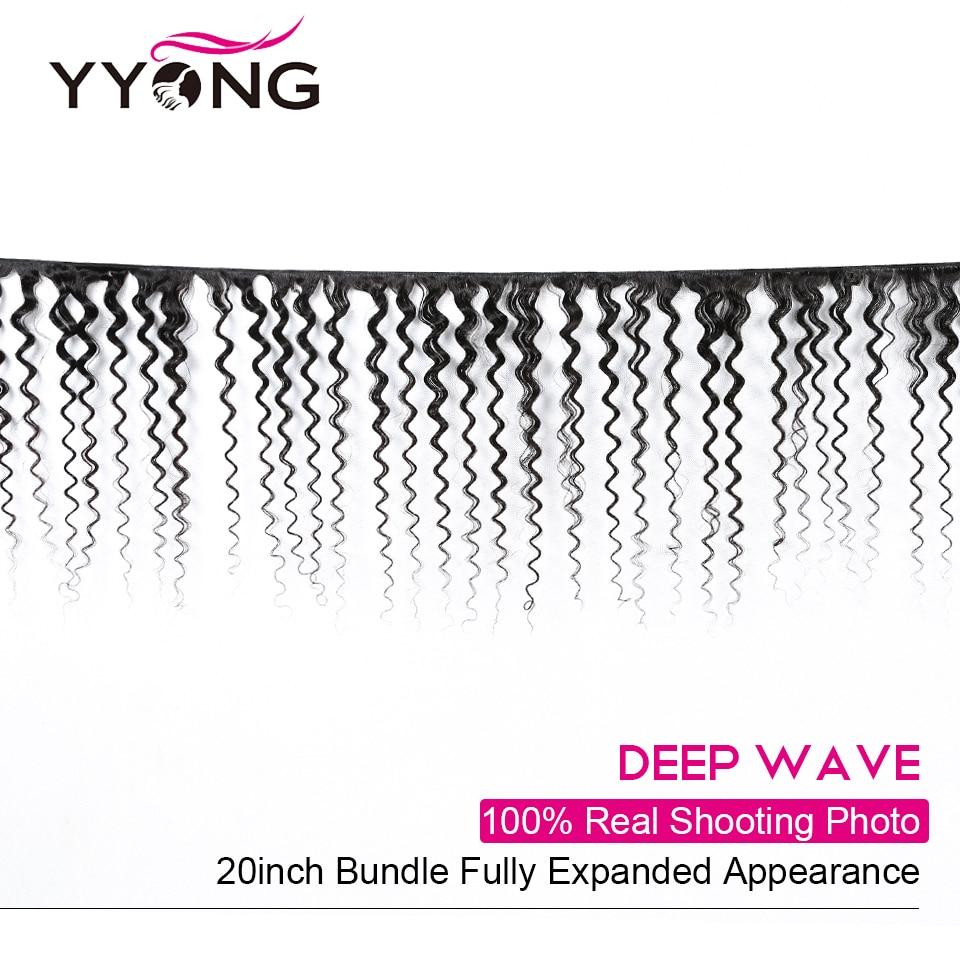Yyong Hair Deep Wave 3 Bundles With Lace Closure  Bundles Medium Ratio   With Closure 4x4 inch 2