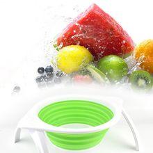 Бытовая кухонная силиконовая Гибкая овощная миска для фруктов, многофункциональная дуршлаг