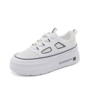 Image 2 - SWYIVY الأبيض أحذية امرأة غير رسمية بولي PU منصة أحذية رياضية النساء جديد 2020 موضة الربيع أحذية رياضية للنساء الخياطة أحذية نسائية خفيفة