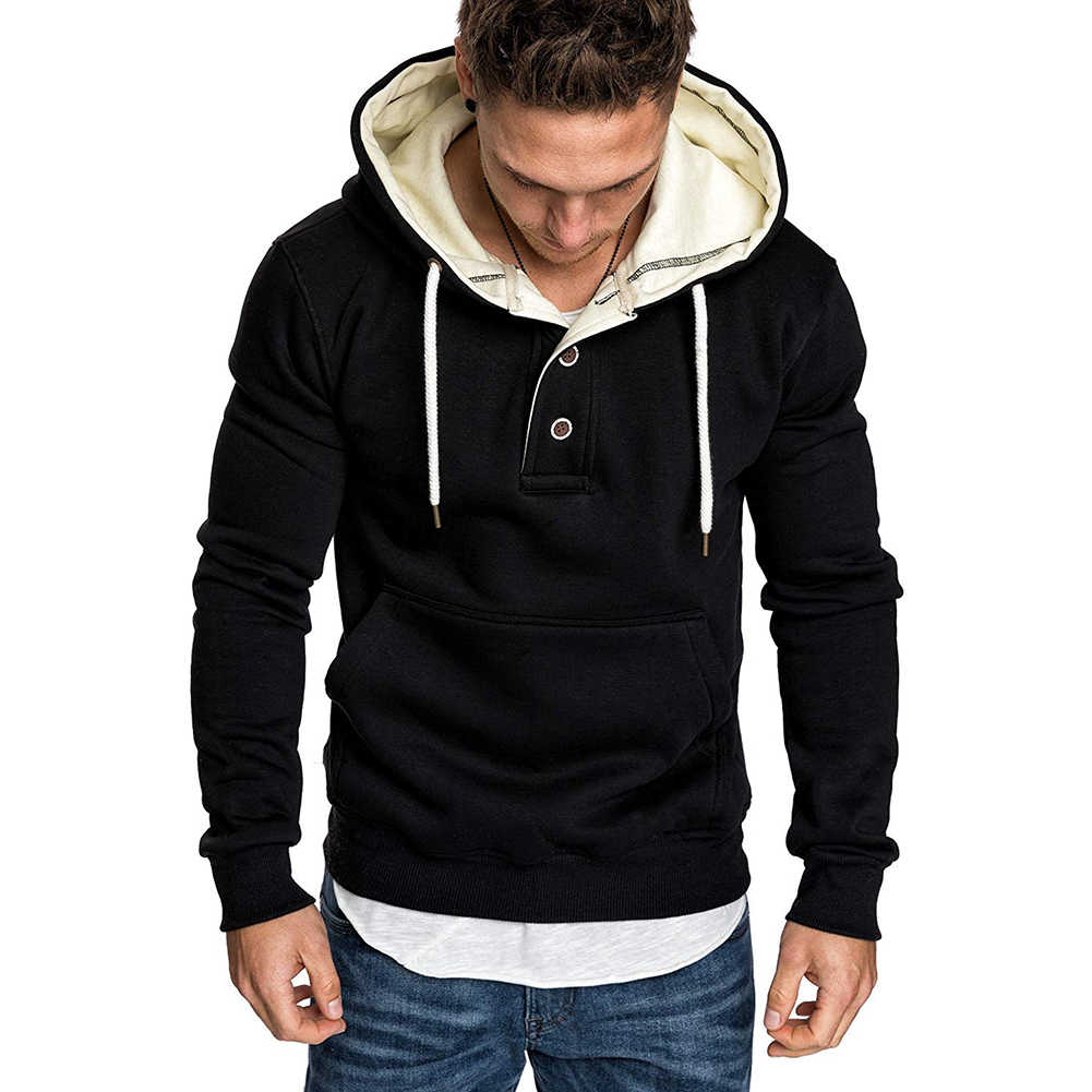 새로운 Hoodies 남자 2019 봄 패션 Tracksuit 운동복 남자의 겨울 따뜻한 칼라 모자 긴 소매 풀오버 스포츠 스웨터
