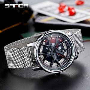 Image 3 - SANDA למעלה מותג אופנה חיצוני גברים שעון מיוחד מסתובב חיוג גלגל שעונים קוורץ תנועת מתנת שעוני יד Montre Homme 1025