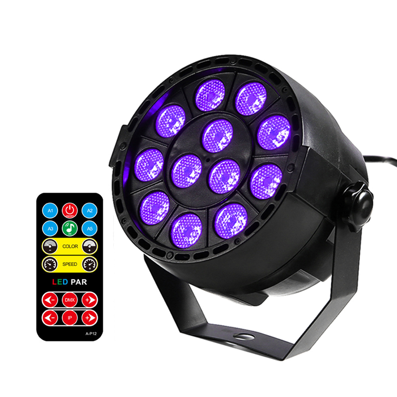 Thrisdar 36W Sound Active DMX512 Ultraviolet Effect Stage Light UV Disco Par Light Wedding Party Holiday UV Projector Spotlight