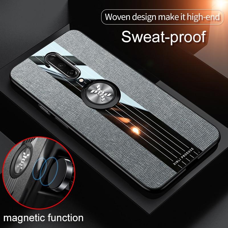 Fodral för Oneplus 7T Pro Cover bil Magnetisk ringhållare Läder - Reservdelar och tillbehör för mobiltelefoner - Foto 1