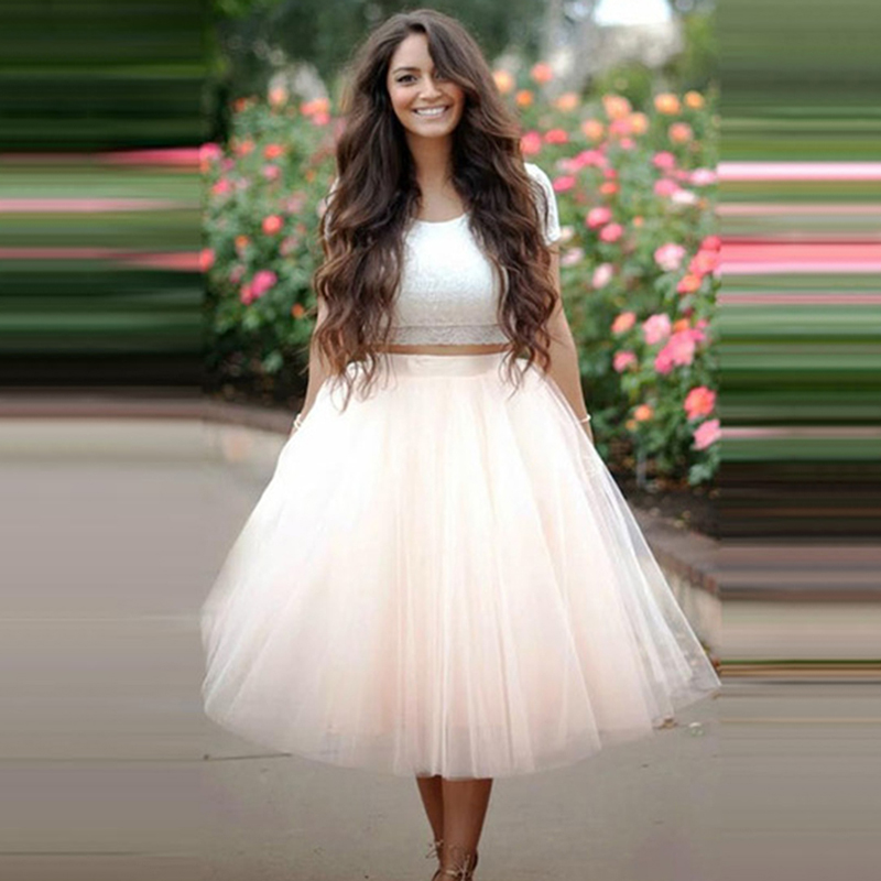 7 Layered 65cm Knee Length Tutu Tulle Skirt Womens High Waist Elastic Pleated Skirts Wedding Bridesmaid Ball Gown Skirt