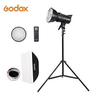 godox sl series led continuous video light slb60w 60w 8700mah li ion battery with remote control charger for photography Godox LED Light SL-60W SL-100W SL-150W SL-200W 5600K Bowens Mount LED Video Light Continuous Light Kit with light stand softbox