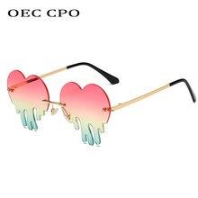 OEC CPO-gafas de sol sin montura para mujer, anteojos de sol femeninos con forma de corazón, a la moda, color rosa y verde, gafas para caballero O720