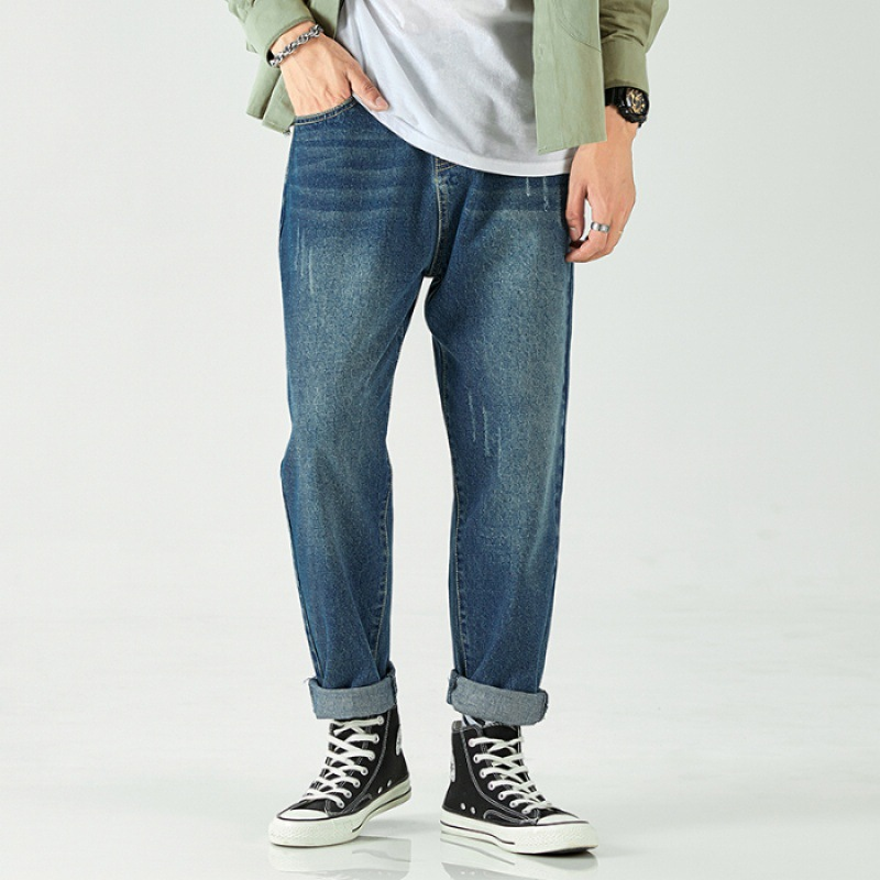Autumn Pendant Sense Wide-Leg Jeans Men Popular Brand Workwear Capri Loose Straight Dad Pants Men's Korean-style Trend