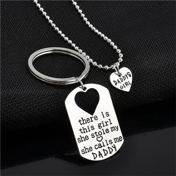 There's The Girl She Stole My Heart Daddy Daughter Keychain Necklace Set Fashion Jewelry Gifts Wholesale 1 Set image