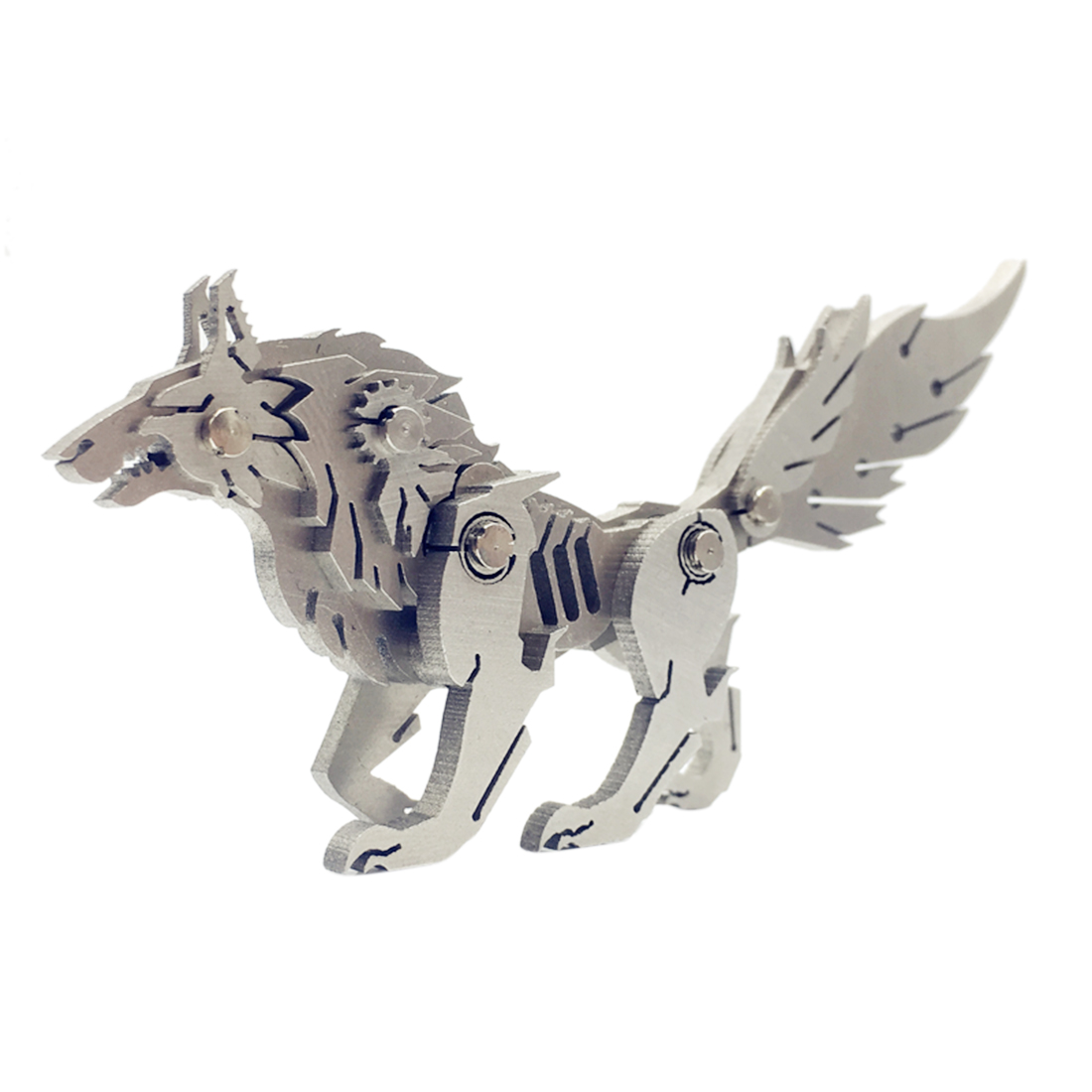 Surwish DIY Assembled Model Kit 3D Stainless Steel Assembled Detachable Wild Wolf Model Puzzle Home Office Table Ornaments Gift