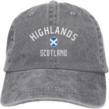 Унисекс Регулируемая хлопковая джинсовая бейсболка s Highland Scotland Trucker Кепка