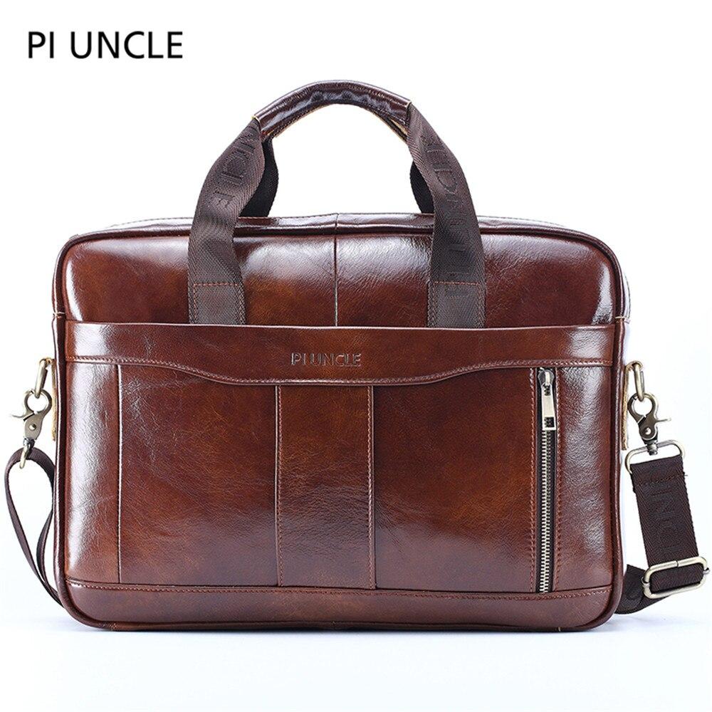 2019Genuine Leather Men's Briefcase Vintage Business Computer Bag Fashion Messenger Bags Man Shoulder Bag Postman Male Handbags