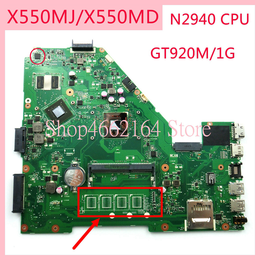 X550MJ Motherboard For ASUS X550MJ N2940CPU GT920M/1G Laptop Motherboard X550M X550MD X552M Notebook Mainboard Fully Tested OK