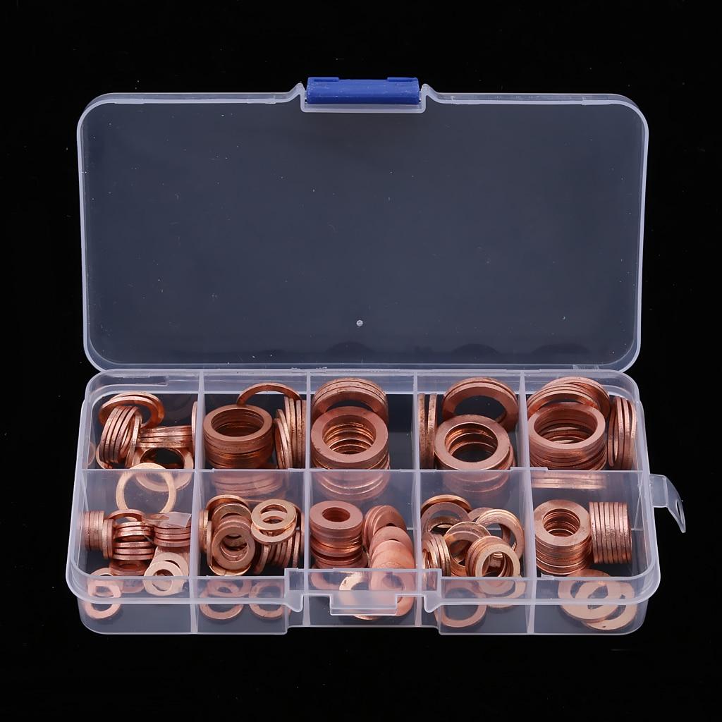 450pcs Oil Drain Plug Gasket Aluminum Washers Sealing Ring Wear Resistant W// Box