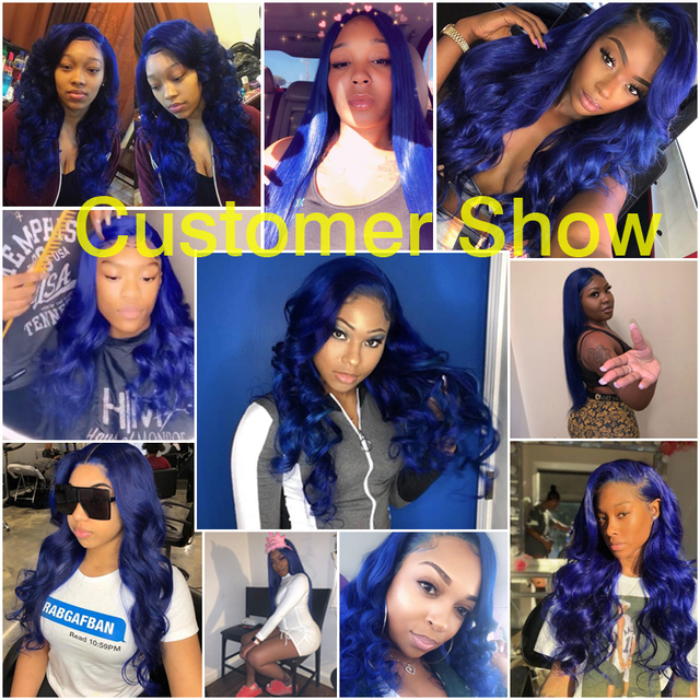 SHD Dark Blue Lace Front Wigs with Pre Plucked Hairline Brazilian Remy Hair Body Wave Lace Front Human Hair Wig with Baby Hair 5