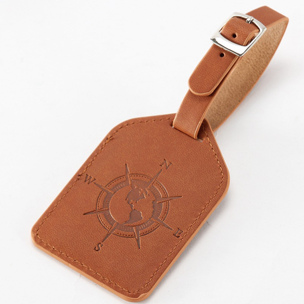 Practical PU Leather Wear Resistant Lightweight Luggage Tag Adjustable Buckle Travel Portable Anti-lost Vintage Style Label Bag
