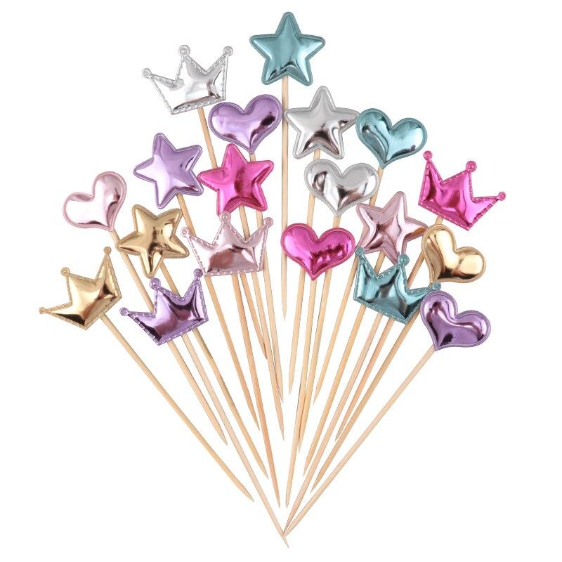 Cakelove 5 pçs/lote adorável coração estrela coroa bolo topper para o aniversário cupcake bandeira do chá de fraldas festa de casamento decoração suprimentos