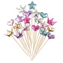 Cakelove 5 unids/lote adorable Corazón corona de estrellas torta topper para cumpleaños cupcake Bandera de baño para bebé fiesta material para decoración de boda