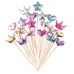 Cakelove 5 pcs/lot lovely heart star crown cake topper for birthday cupcake flag baby shower party wedding decoration supplies(China)