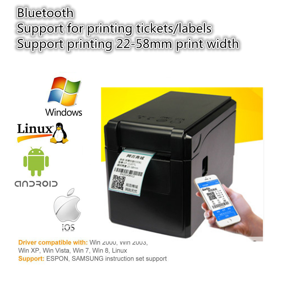 Factory Outlets  Barcode Label Printer Print Width 58mm Bluetooth Version Barcode Printer Clothing Tag Label/ticke