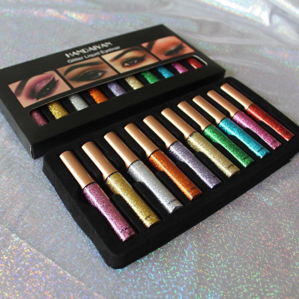 HANDAIYAN 12 Colors/pack Matte Color Eyeliner Kit Makeup Waterproof Colorful Eye Liner Pen Eyes Make up Cosmetics Eyeliners Set 6