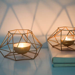 Ornament-Sconce Candle-Holder Iron-Candlestick Gift Tealight Steel Wall Geometric Home-Decor
