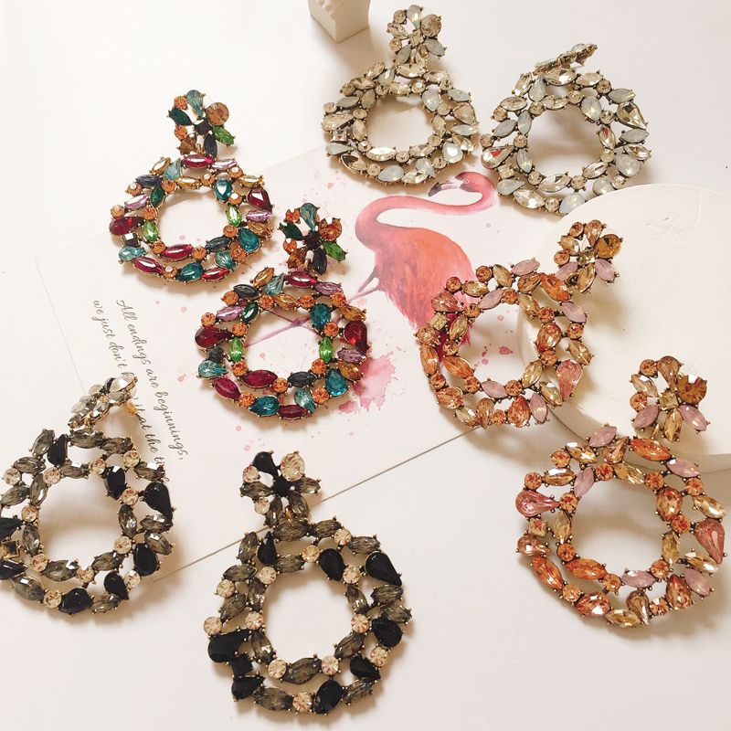 Ztech Luxury Crystal Round Drop Earrings For Women Big Colorful Statement Earrings Large Rhinestone Earings Fashion Jewellery