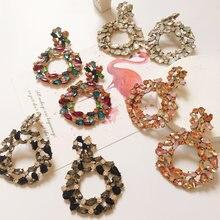 Женские серьги капли ztech роскошные круглые с кристаллами большие