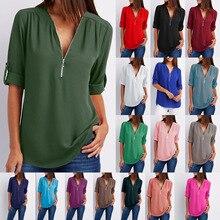 S-5xl women chiffon blouse casual half sleeve V-neck zipper blue irregular loose shirts summer autumn sexy tops Plus size shirts
