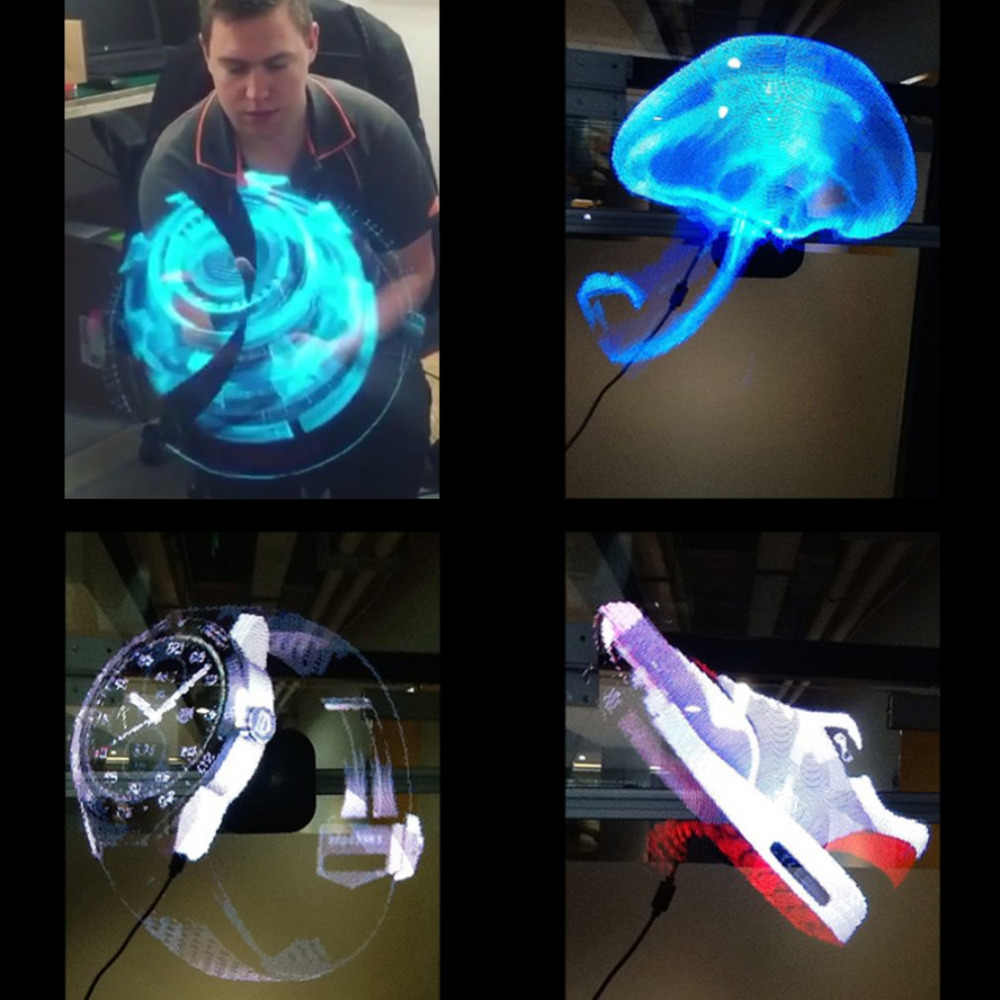 Icoco led projetor holográfico portátil holograma jogador 3d holográfico dispaly fã único holograma projetor preto/branco