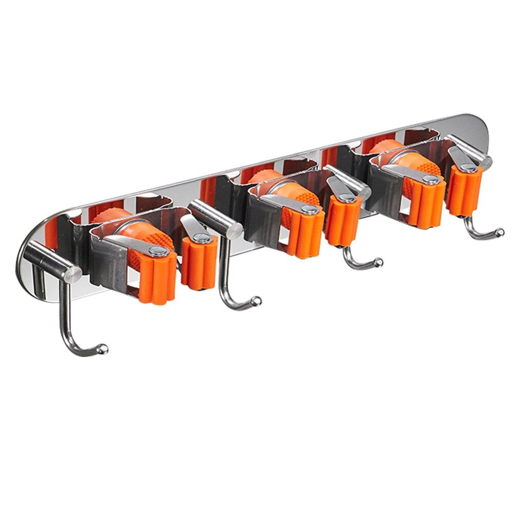 Bathroom Self-Adhesive Mop Holder With Hook Broom Holder Wall Mounted Broom Hanger Organizer Stainless Steel Storage Rack