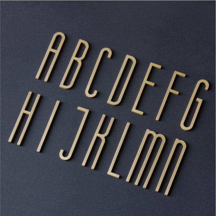 0-9a-z, Твердый латунный Английский алфавит, украшение для дома, медные буквы, арабские цифры для номера дома, «сделай сам», название магазина, ...