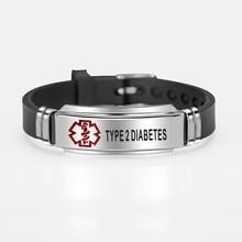 Type 2 Diabetes Medical Alert ID Bracelet For Men Women Adjustable Silicone Black Bracelets Bangles ICE Emergency Jewelry