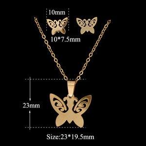 Позолоченное ожерелье, набор из нержавеющей стали, зеркальная полировка, высокое качество, крест, Звезда Давида, сердце, молния, бабочка