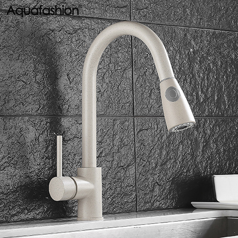 Brass Kitchen Mixer Pull Out Flexible Kitchen Tap Hot And Cold Water Torneira Cozinha Beige Kitchen Sink Faucet