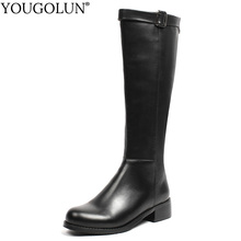Leather Knee High Boots Women Autumn Winter Lady Shoes Mid Square Heels A354 Woman Black Round Toe Buckle Style Motorcycle Boots стоимость