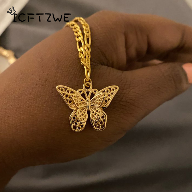 Sweet Butterfly Anklets For Women Stainless Steel Gold Charm Chain Butterfly Shape Anklet Beach Foot Sandal Bff Jewelry Gifts
