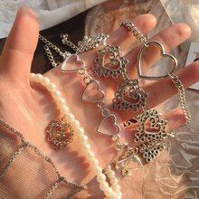 Kpop Сердце цепочка колье для женщин воротник ожерелье в готическом стиле эстетическое ювелирных изделий на День святого Валентина вечерние ...