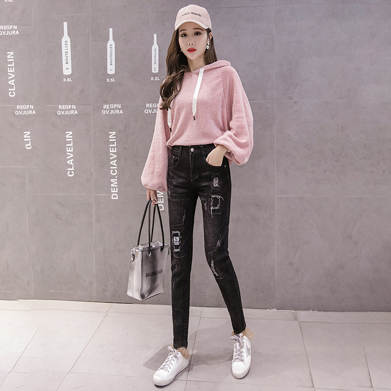 2019 Photo Shoot New Style Cowboy Winter Leggings Skinny Slim Fit Explicit Lanky Pants Applique High Elastic Force With Holes Wo